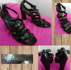 Enzo Angiolini Brown Strappy Buckled Heels